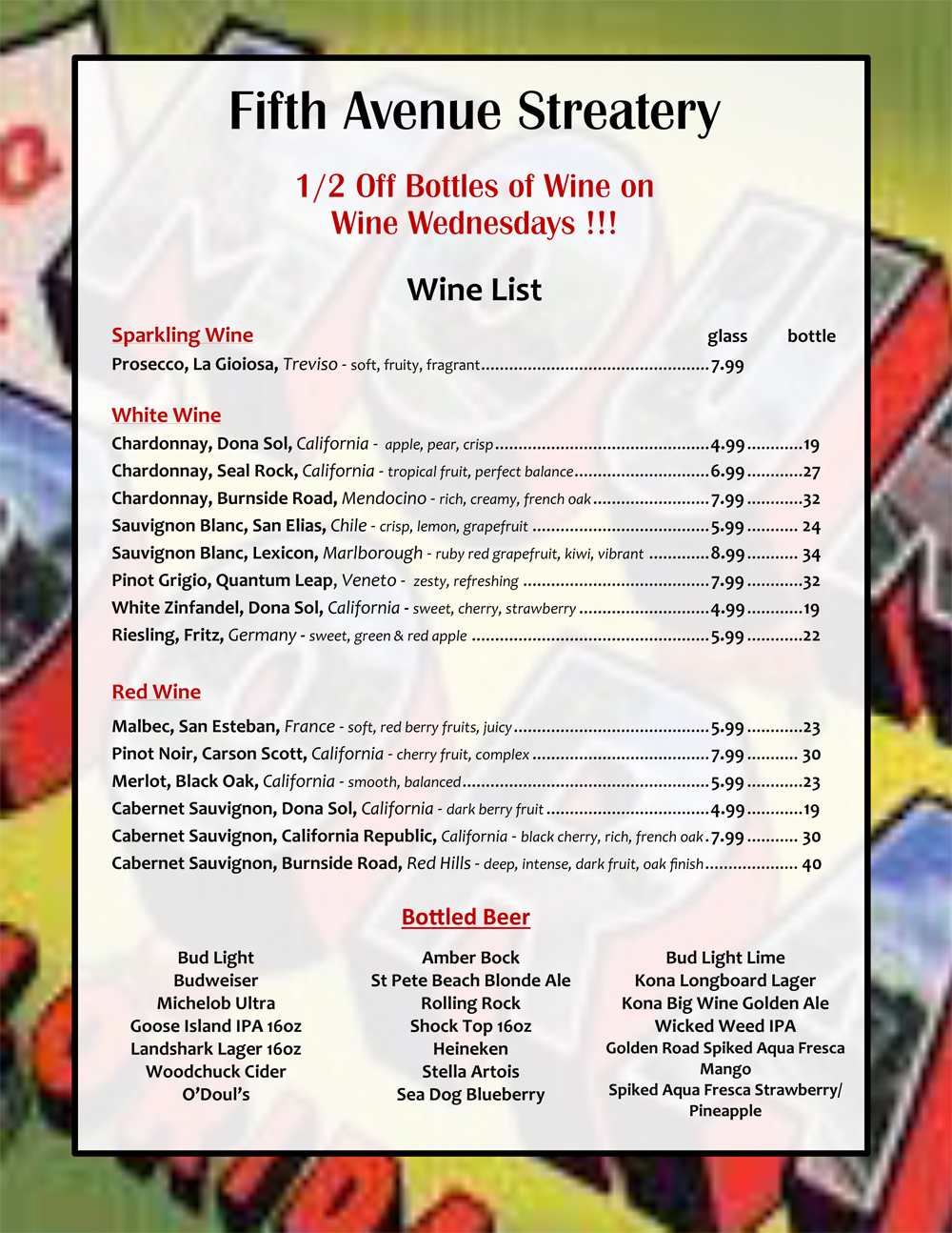 Beer And Wine List